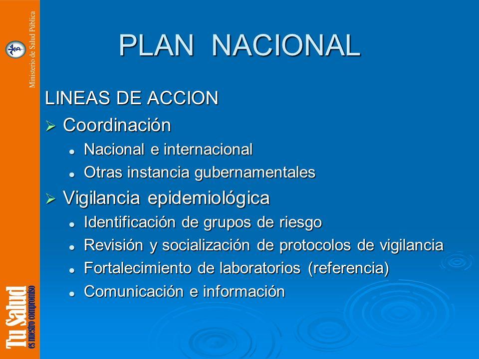 PLAN NACIONAL LINEAS DE ACCION Coordinación Coordinación Nacional e internacional Nacional e internacional Otras instancia gubernamentales Otras insta