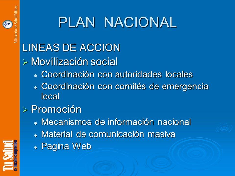 PLAN NACIONAL LINEAS DE ACCION Movilización social Movilización social Coordinación con autoridades locales Coordinación con autoridades locales Coord