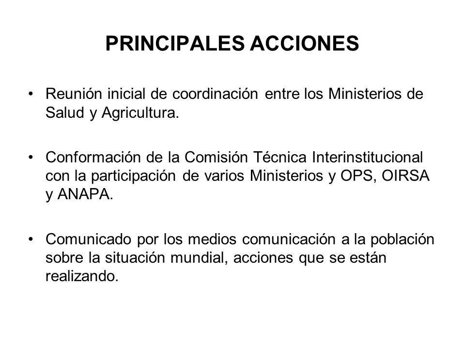 PRINCIPALES ACCIONES Reunión inicial de coordinación entre los Ministerios de Salud y Agricultura.
