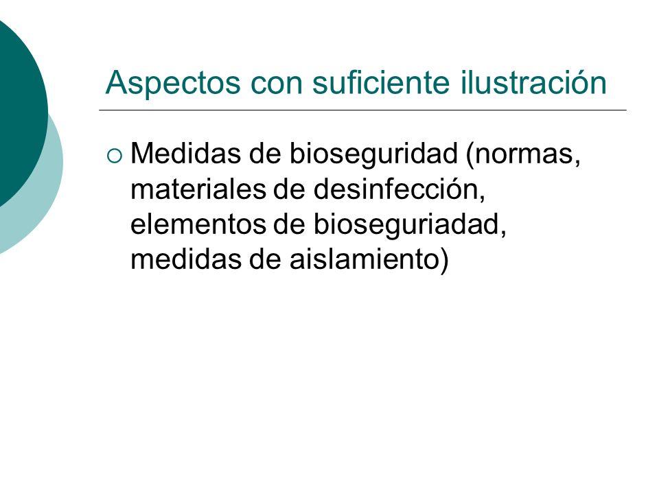 Aspectos con suficiente ilustración Medidas de bioseguridad (normas, materiales de desinfección, elementos de bioseguriadad, medidas de aislamiento)
