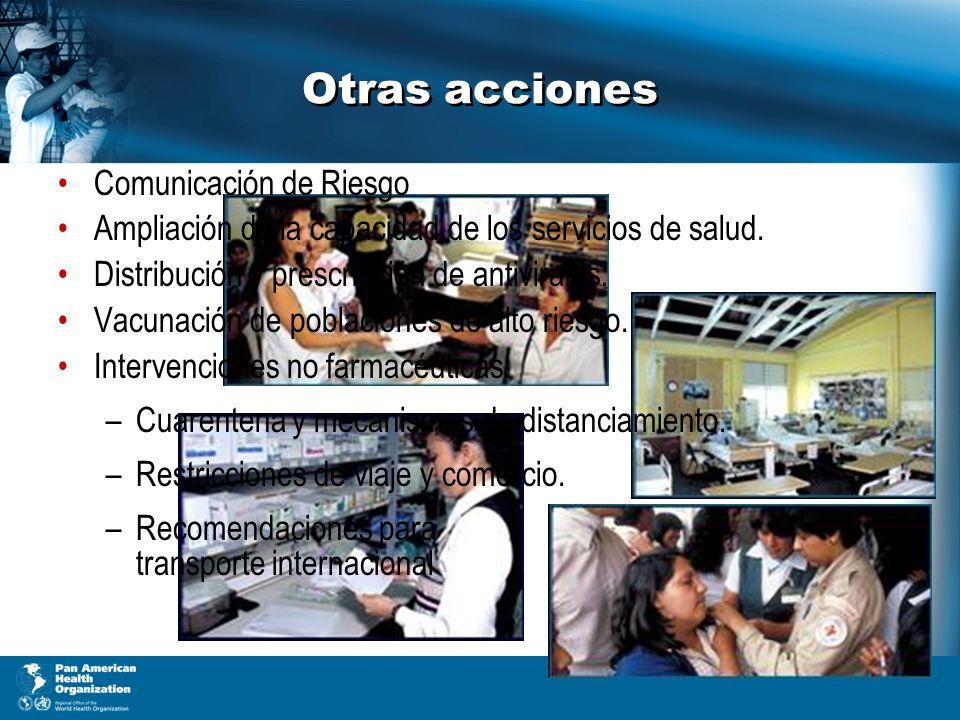 Otras acciones Comunicación de Riesgo Ampliación de la capacidad de los servicios de salud.