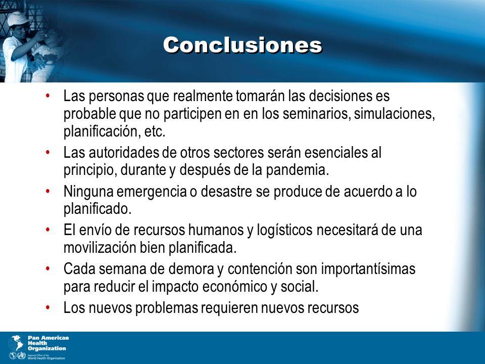 Conclusiones Las personas que realmente tomarán las decisiones es probable que no participen en en los seminarios, simulaciones, planificación, etc.
