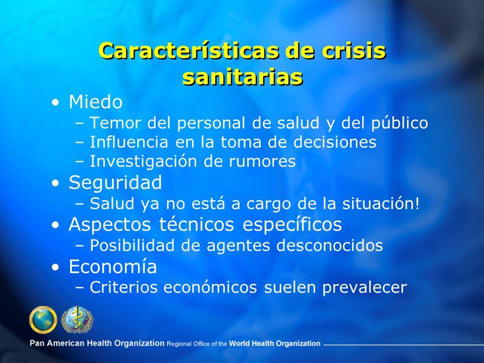 Características de crisis sanitarias Miedo –Temor del personal de salud y del público –Influencia en la toma de decisiones –Investigación de rumores Seguridad –Salud ya no está a cargo de la situación.