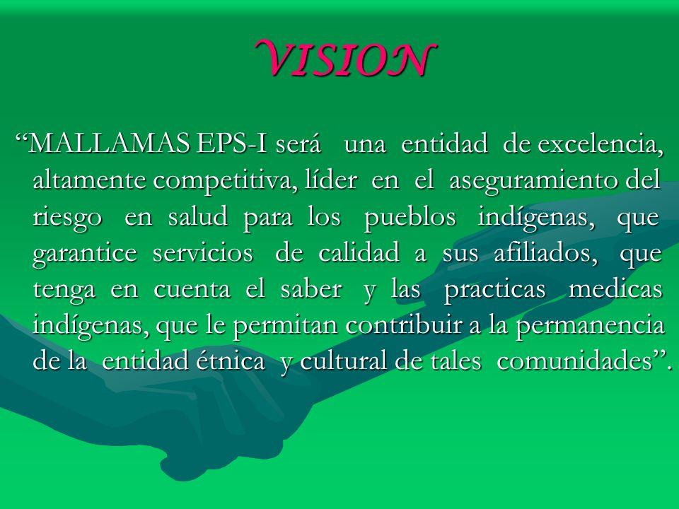 VISION MALLAMAS EPS-I será una entidad de excelencia, altamente competitiva, líder en el aseguramiento del riesgo en salud para los pueblos indígenas,