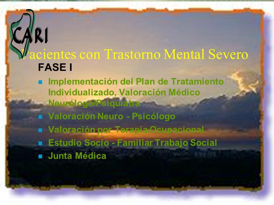 Pacientes con Trastorno Mental Severo FASE I n Implementación del Plan de Tratamiento Individualizado, Valoración Médico Neurólogo/Psiquiatra n Valora