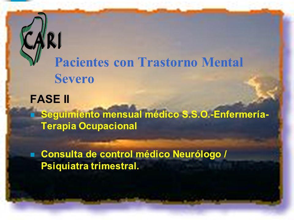 Pacientes con Trastorno Mental Severo FASE II n Seguimiento mensual médico S.S.O.-Enfermería- Terapia Ocupacional n Consulta de control médico Neurólo