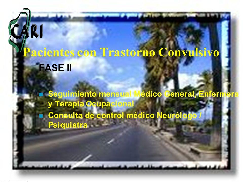 Pacientes con Trastorno Convulsivo FASE II n Seguimiento mensual Médico General, Enfermera y Terapia Ocupacional n Consulta de control médico Neurólog