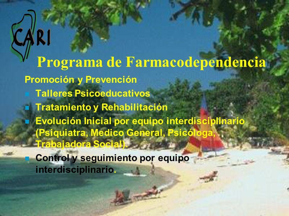 Programa de Farmacodependencia Promoción y Prevención n Talleres Psicoeducativos n Tratamiento y Rehabilitación n Evolución Inicial por equipo interdi