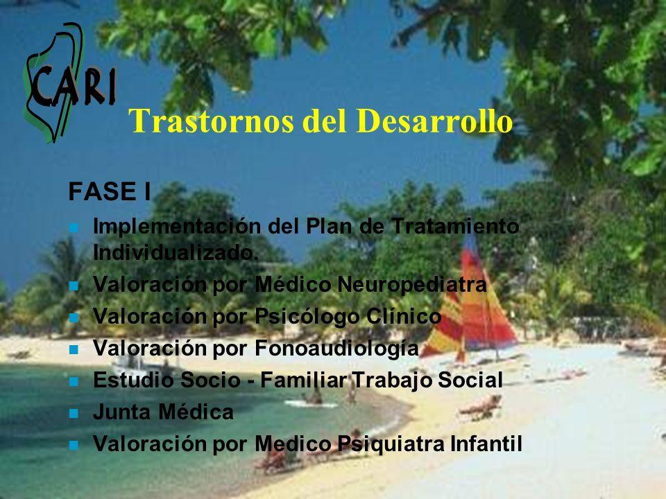 Trastornos del Desarrollo FASE I n Implementación del Plan de Tratamiento Individualizado. n Valoración por Médico Neuropediatra n Valoración por Psic
