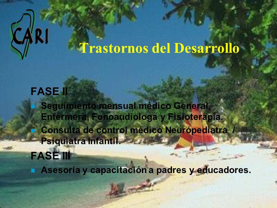 Trastornos del Desarrollo FASE II n Seguimiento mensual médico General, Enfermera, Fonoaudiologa y Fisioterapia. n Consulta de control médico Neuróped