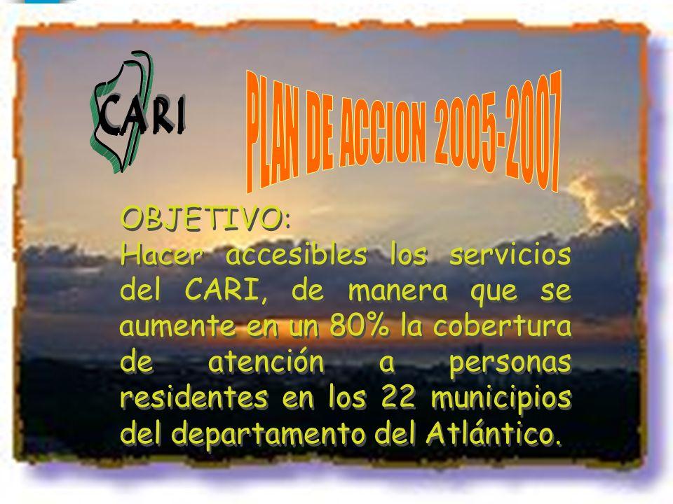 OBJETIVO: Hacer accesibles los servicios del CARI, de manera que se aumente en un 80% la cobertura de atención a personas residentes en los 22 municip