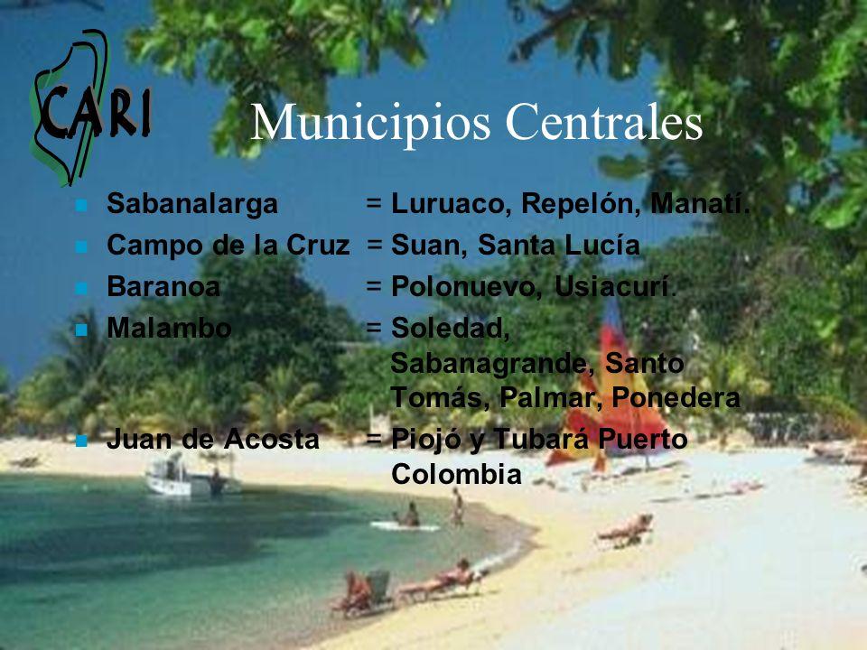 Municipios Centrales n Sabanalarga = Luruaco, Repelón, Manatí. n Campo de la Cruz = Suan, Santa Lucía n Baranoa = Polonuevo, Usiacurí. n Malambo = Sol