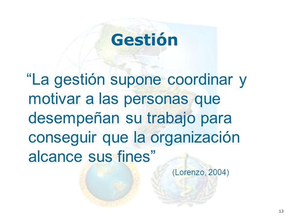 13 Gestión La gestión supone coordinar y motivar a las personas que desempeñan su trabajo para conseguir que la organización alcance sus fines (Lorenzo, 2004)