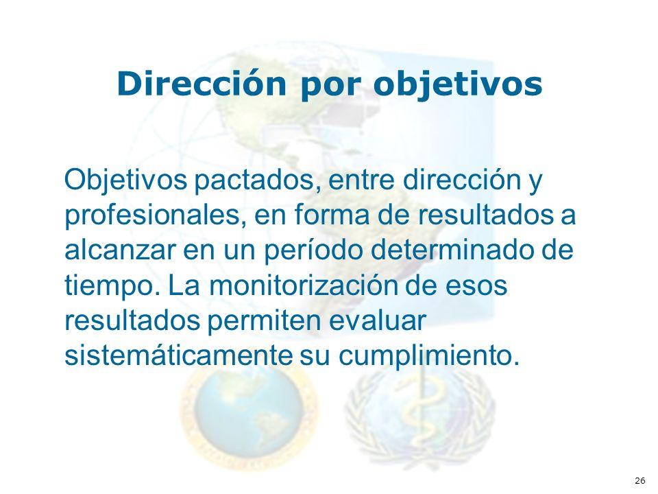26 Dirección por objetivos Objetivos pactados, entre dirección y profesionales, en forma de resultados a alcanzar en un período determinado de tiempo.