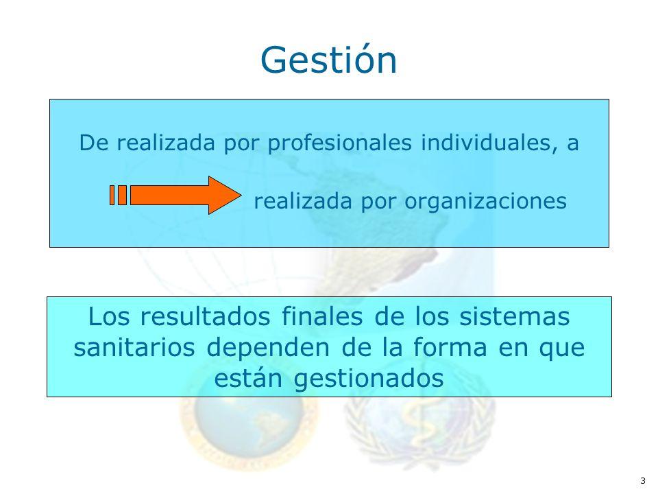 3 Gestión De realizada por profesionales individuales, a realizada por organizaciones Los resultados finales de los sistemas sanitarios dependen de la forma en que están gestionados