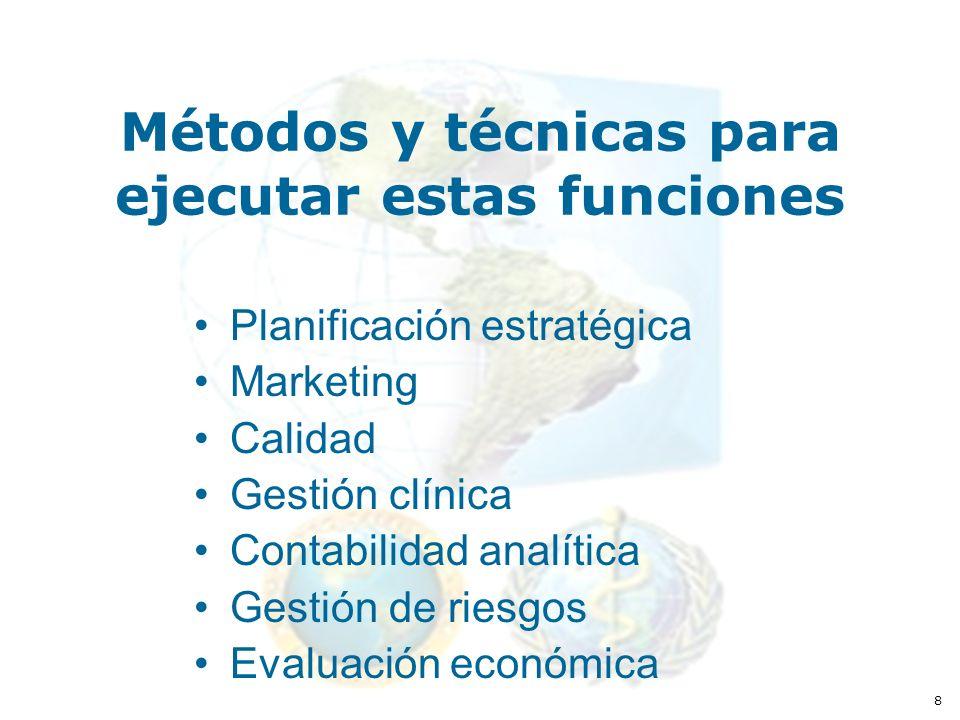8 Métodos y técnicas para ejecutar estas funciones Planificación estratégica Marketing Calidad Gestión clínica Contabilidad analítica Gestión de riesgos Evaluación económica