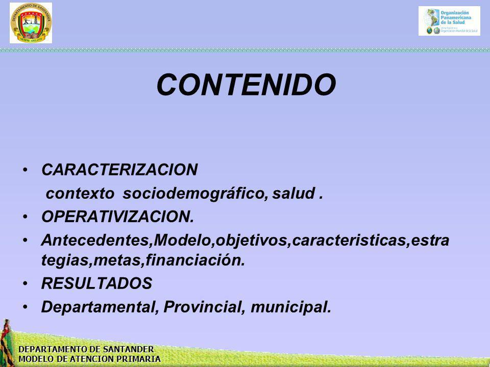 DEPARTAMENTO DE SANTANDER MODELO DE ATENCION PRIMARIA CONTENIDO CARACTERIZACION contexto sociodemográfico, salud. OPERATIVIZACION. Antecedentes,Modelo