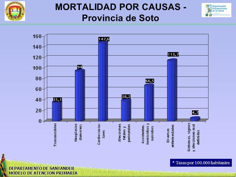 DEPARTAMENTO DE SANTANDER MODELO DE ATENCION PRIMARIA MORTALIDAD POR CAUSAS - Provincia de Soto * Tasas por 100.000 habitantes