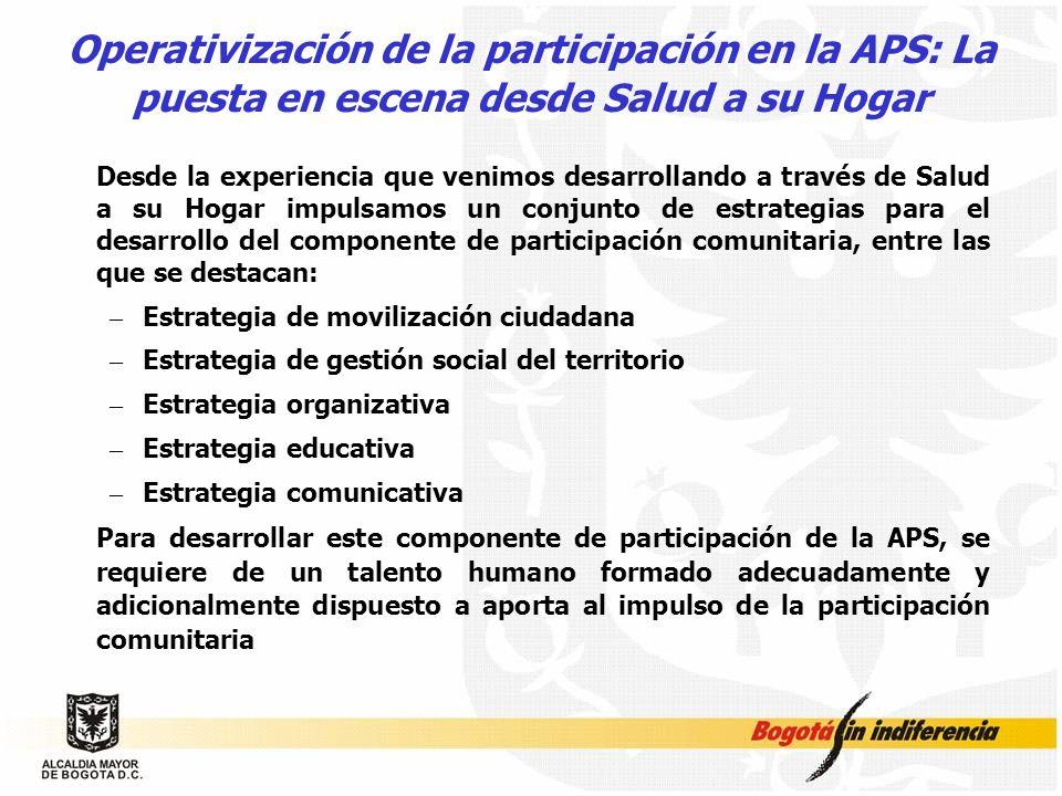 Operativización de la participación en la APS: La puesta en escena desde Salud a su Hogar Desde la experiencia que venimos desarrollando a través de S