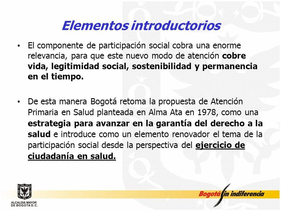 Elementos introductorios El componente de participación social cobra una enorme relevancia, para que este nuevo modo de atención cobre vida, legitimid
