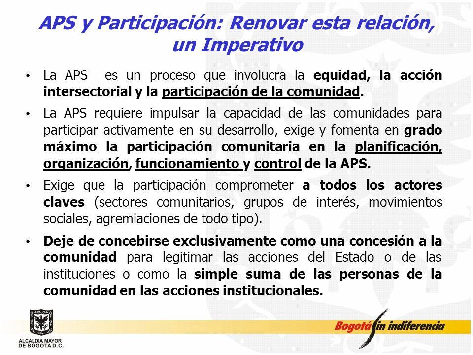APS y Participación: Renovar esta relación, un Imperativo La APS es un proceso que involucra la equidad, la acción intersectorial y la participación d