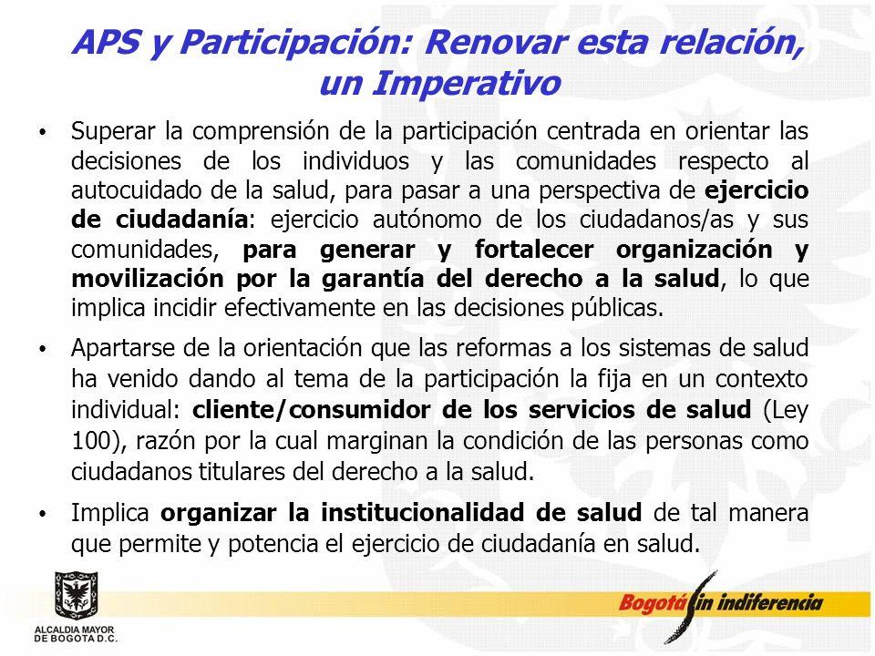 APS y Participación: Renovar esta relación, un Imperativo Superar la comprensión de la participación centrada en orientar las decisiones de los indivi