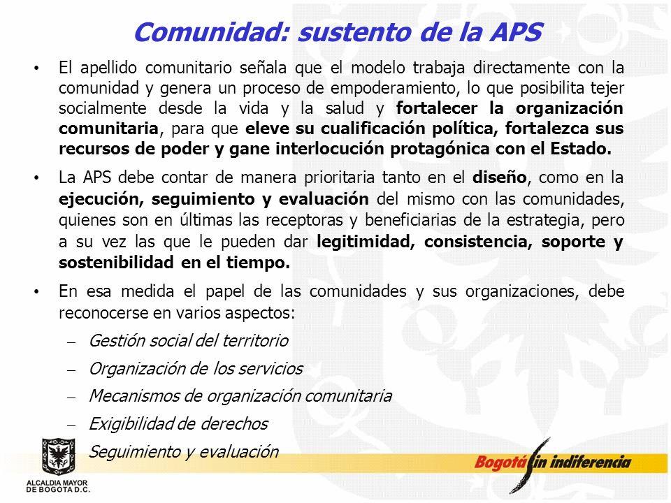 Comunidad: sustento de la APS El apellido comunitario señala que el modelo trabaja directamente con la comunidad y genera un proceso de empoderamiento