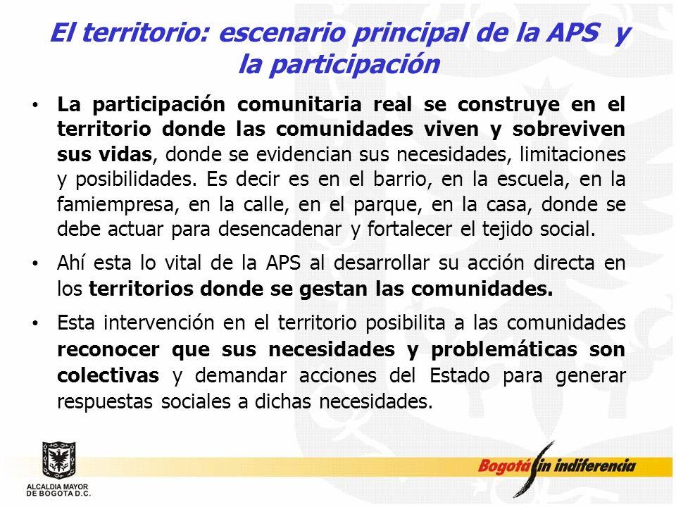 El territorio: escenario principal de la APS y la participación La participación comunitaria real se construye en el territorio donde las comunidades