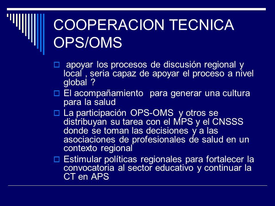 COOPERACION TECNICA OPS/OMS apoyar los procesos de discusión regional y local, seria capaz de apoyar el proceso a nivel global .