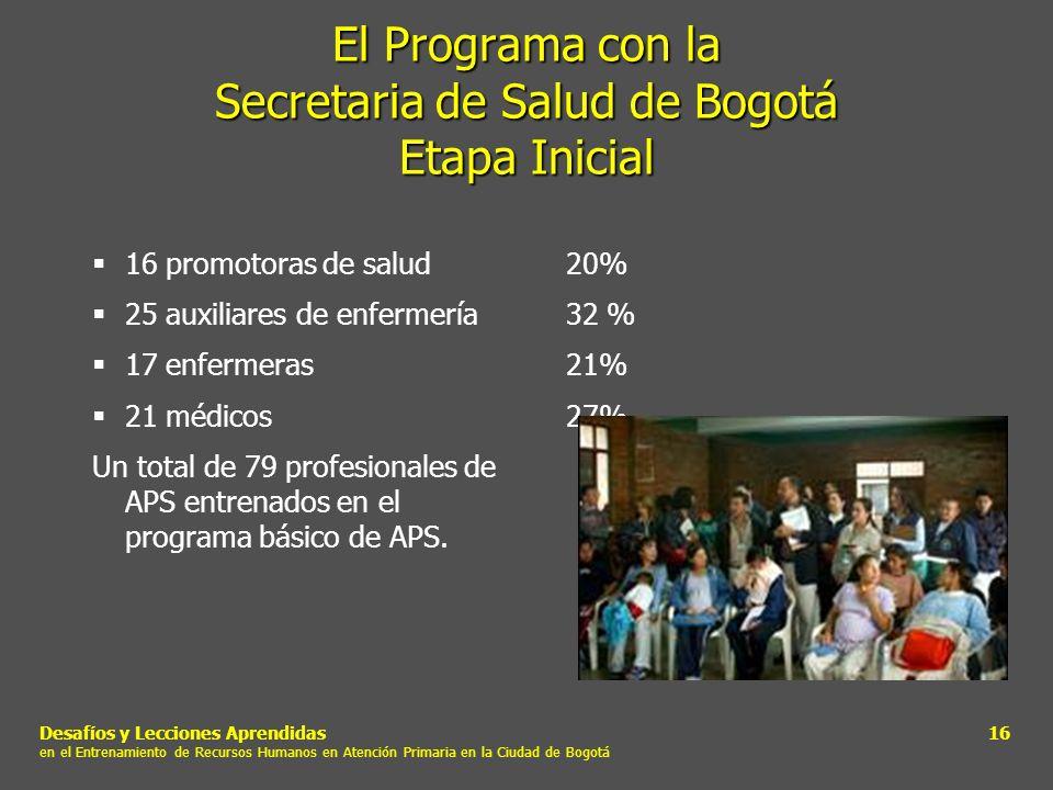 Desafíos y Lecciones Aprendidas en el Entrenamiento de Recursos Humanos en Atención Primaria en la Ciudad de Bogotá 16 El Programa con la Secretaria d
