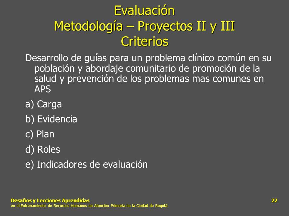 Desafíos y Lecciones Aprendidas en el Entrenamiento de Recursos Humanos en Atención Primaria en la Ciudad de Bogotá 22 Evaluación Metodología – Proyec