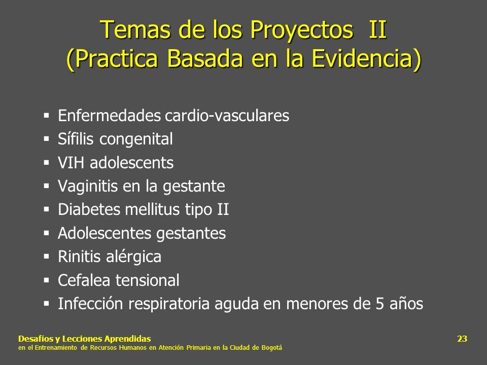 Desafíos y Lecciones Aprendidas en el Entrenamiento de Recursos Humanos en Atención Primaria en la Ciudad de Bogotá 23 Temas de los Proyectos II (Prac