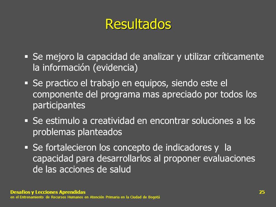 Desafíos y Lecciones Aprendidas en el Entrenamiento de Recursos Humanos en Atención Primaria en la Ciudad de Bogotá 25 Resultados Se mejoro la capacid