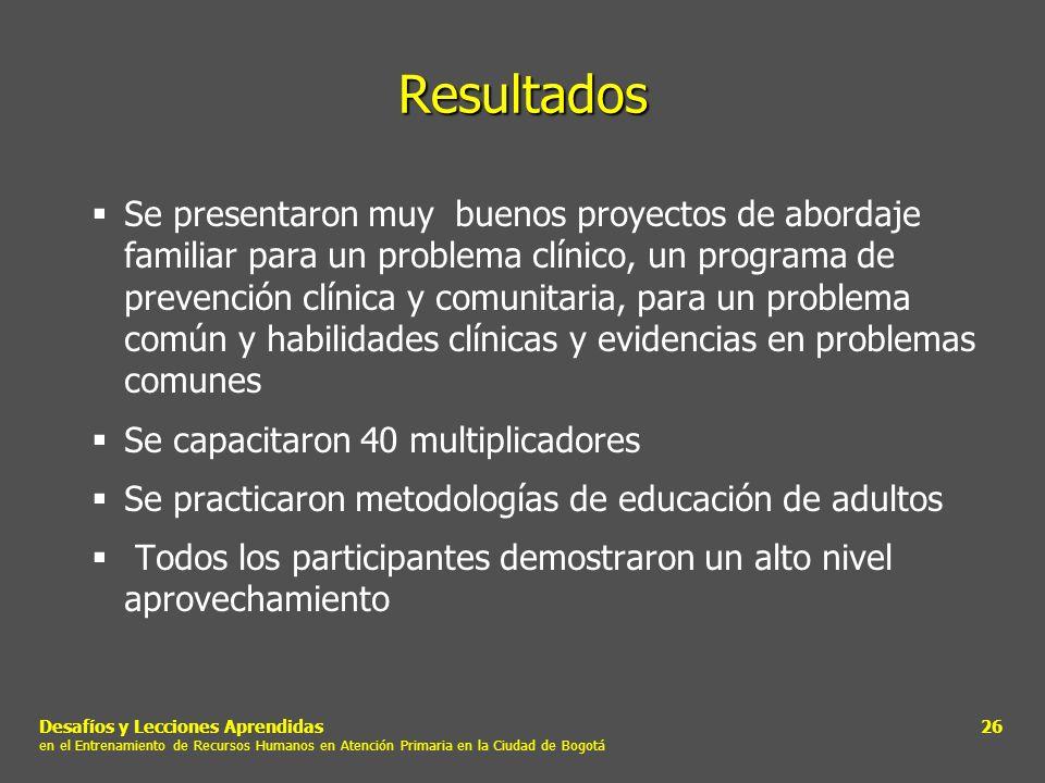 Desafíos y Lecciones Aprendidas en el Entrenamiento de Recursos Humanos en Atención Primaria en la Ciudad de Bogotá 26 Resultados Se presentaron muy b