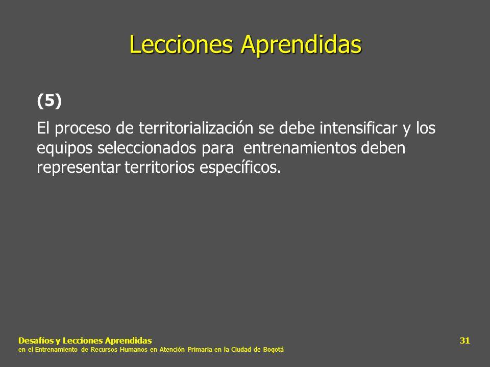 Desafíos y Lecciones Aprendidas en el Entrenamiento de Recursos Humanos en Atención Primaria en la Ciudad de Bogotá 31 Lecciones Aprendidas (5) El pro