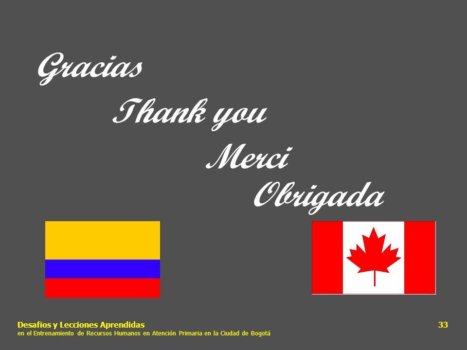 Desafíos y Lecciones Aprendidas en el Entrenamiento de Recursos Humanos en Atención Primaria en la Ciudad de Bogotá 33 Gracias Thank you Merci Obrigad