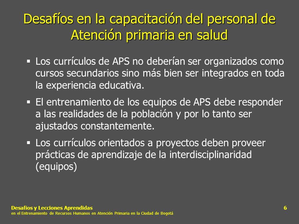 Desafíos y Lecciones Aprendidas en el Entrenamiento de Recursos Humanos en Atención Primaria en la Ciudad de Bogotá 17 Multiplicadores Segunda Etapa 6 Auxiliares de enfermería17% 6 Promotores de salud17% 13 Enfermeras29% 15 Médicos37%.