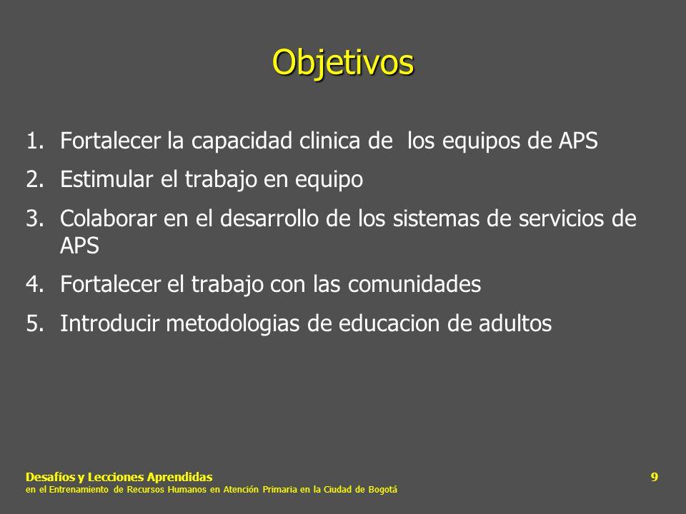 Desafíos y Lecciones Aprendidas en el Entrenamiento de Recursos Humanos en Atención Primaria en la Ciudad de Bogotá 9 Objetivos 1.Fortalecer la capaci