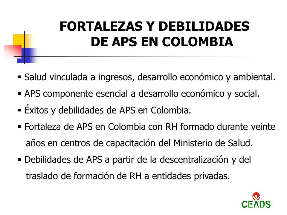 FORTALEZAS Y DEBILIDADES DE APS EN COLOMBIA Salud vinculada a ingresos, desarrollo económico y ambiental.