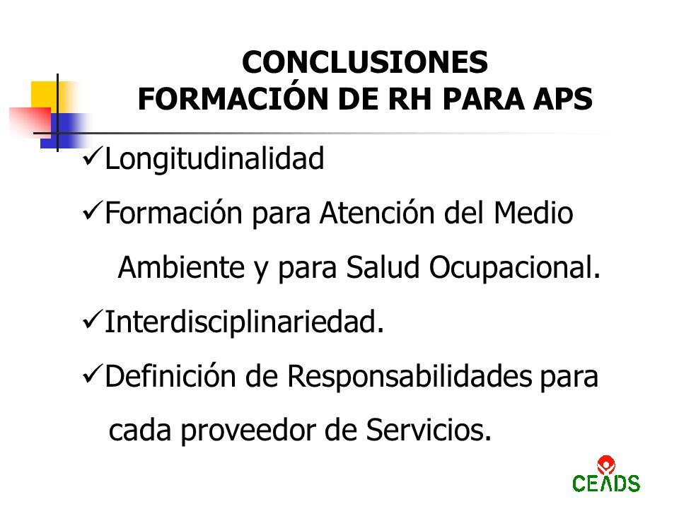 CONCLUSIONES FORMACIÓN DE RH PARA APS Longitudinalidad Formación para Atención del Medio Ambiente y para Salud Ocupacional.