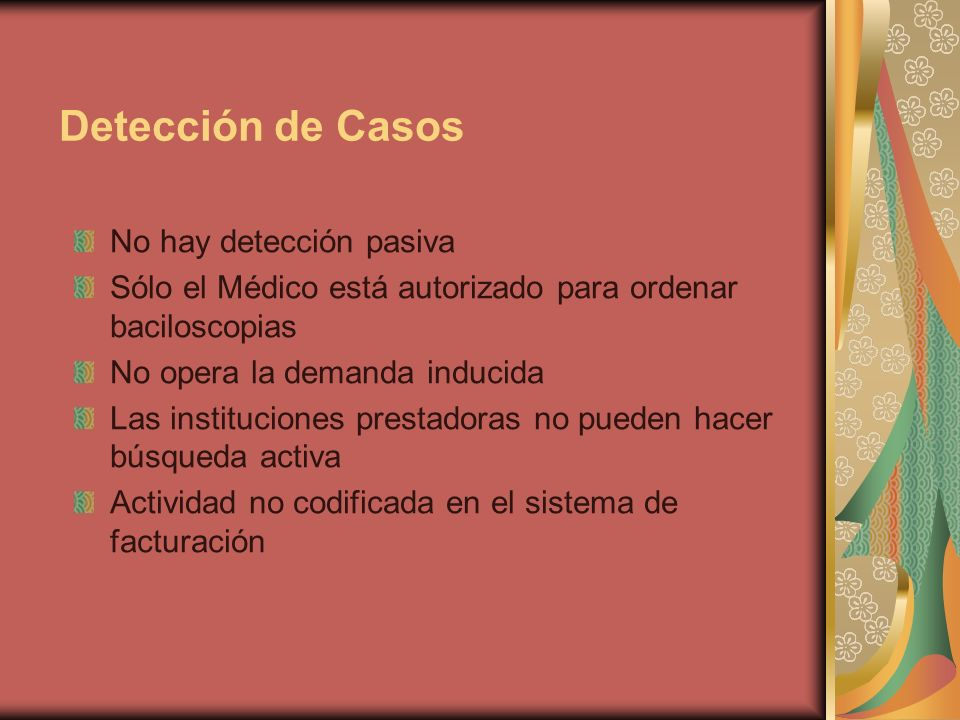 Detección de Casos No hay detección pasiva Sólo el Médico está autorizado para ordenar baciloscopias No opera la demanda inducida Las instituciones prestadoras no pueden hacer búsqueda activa Actividad no codificada en el sistema de facturación