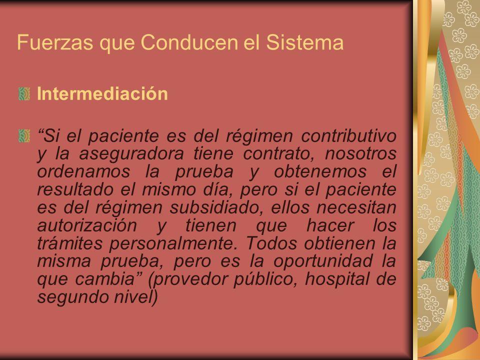 Fuerzas que Conducen el Sistema Intermediación Si el paciente es del régimen contributivo y la aseguradora tiene contrato, nosotros ordenamos la prueba y obtenemos el resultado el mismo día, pero si el paciente es del régimen subsidiado, ellos necesitan autorización y tienen que hacer los trámites personalmente.