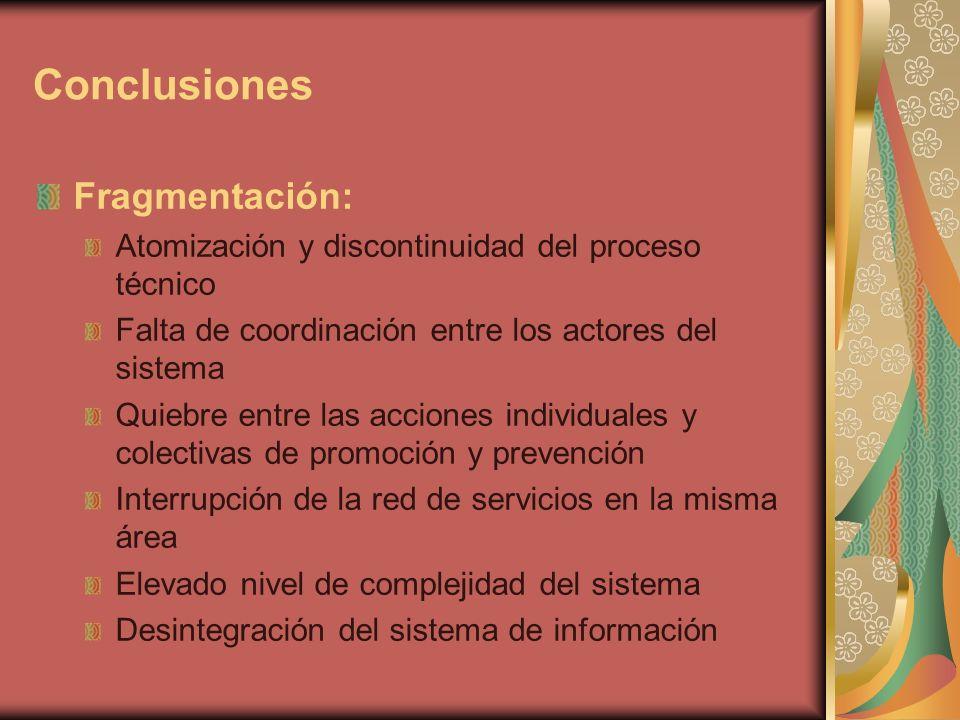 Conclusiones Fragmentación: Atomización y discontinuidad del proceso técnico Falta de coordinación entre los actores del sistema Quiebre entre las acciones individuales y colectivas de promoción y prevención Interrupción de la red de servicios en la misma área Elevado nivel de complejidad del sistema Desintegración del sistema de información