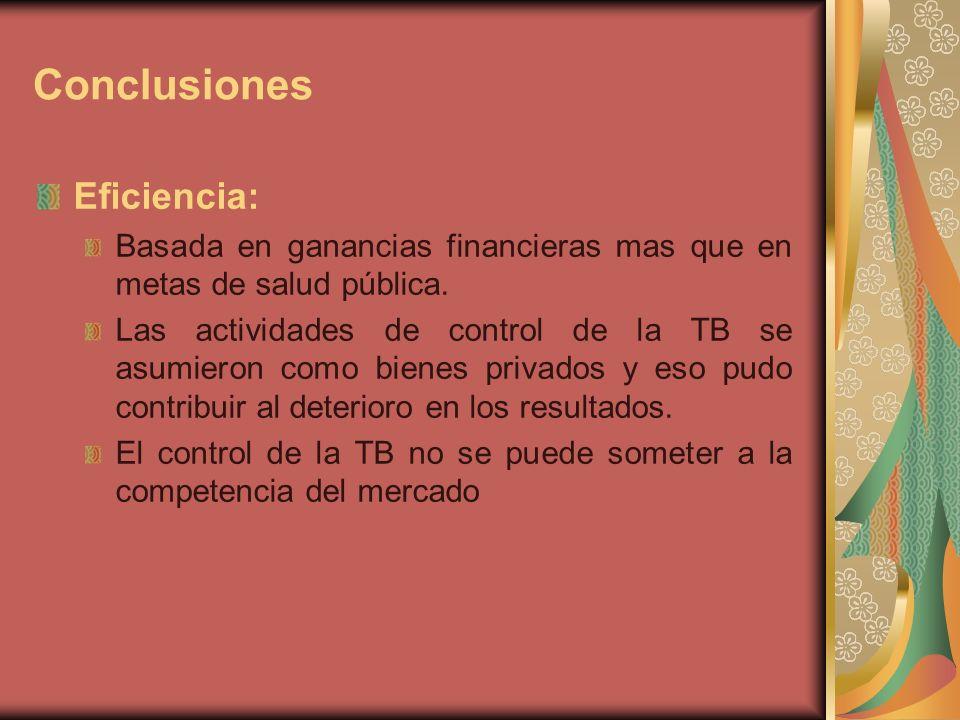 Conclusiones Eficiencia: Basada en ganancias financieras mas que en metas de salud pública.