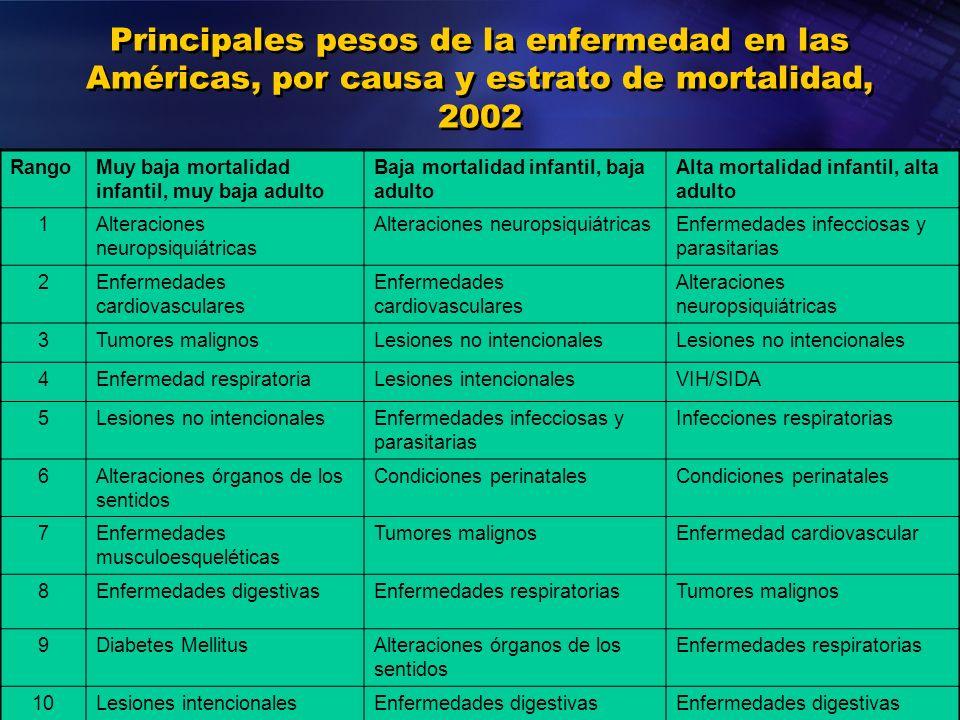 Organización Panamericana de la Salud Principales pesos de la enfermedad en las Américas, por causa y estrato de mortalidad, 2002 RangoMuy baja mortal