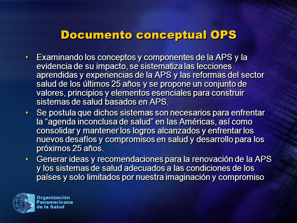 Organización Panamericana de la Salud Documento conceptual OPS Examinando los conceptos y componentes de la APS y la evidencia de su impacto, se siste
