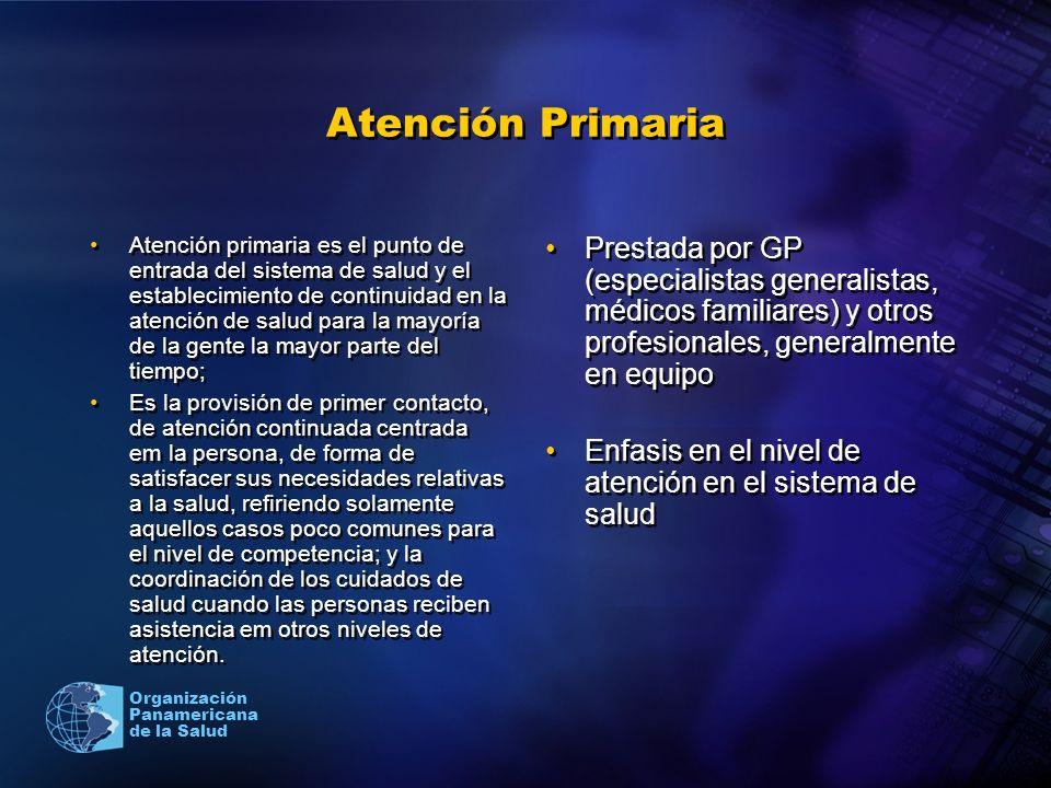Organización Panamericana de la Salud Atención Primaria Atención primaria es el punto de entrada del sistema de salud y el establecimiento de continui