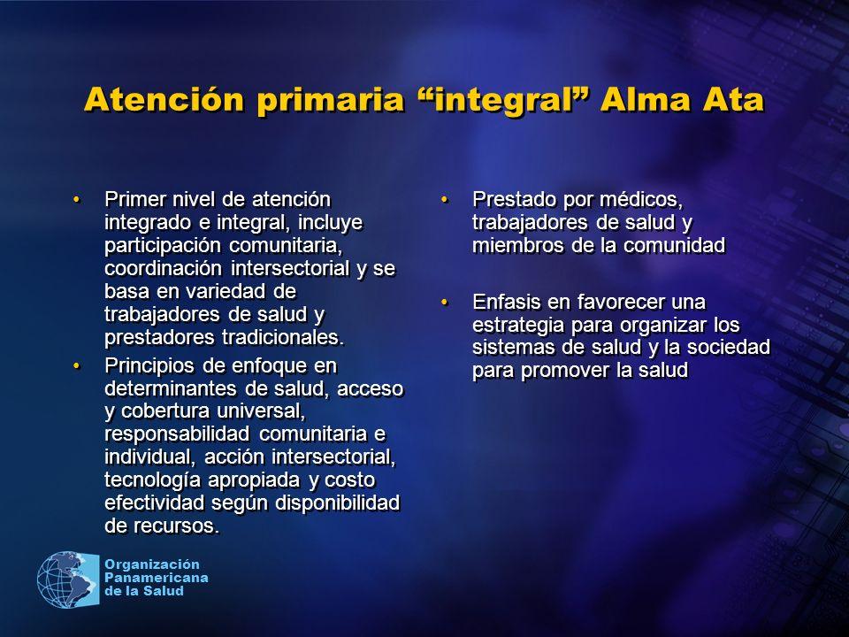 Organización Panamericana de la Salud Atención primaria integral Alma Ata Primer nivel de atención integrado e integral, incluye participación comunit