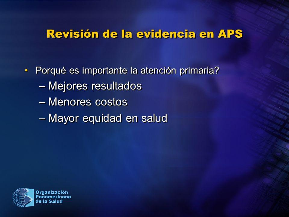 Organización Panamericana de la Salud Revisión de la evidencia en APS Porqué es importante la atención primaria? –Mejores resultados –Menores costos –