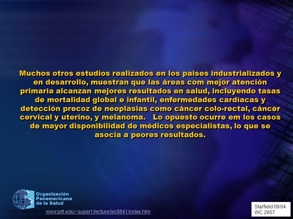 Organización Panamericana de la Salud Muchos otros estudios realizados en los paises industrializados y en desarrollo, muestran que las áreas com mejo